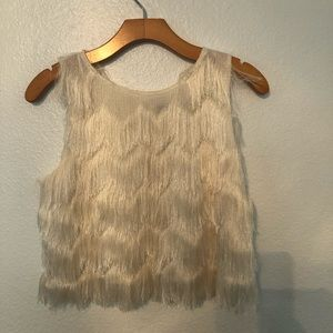 Zara Fringe Crop Top, Off White, M